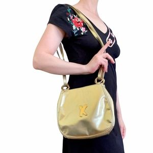 Vintage Paloma Picasso Gold Leather Bag Purse